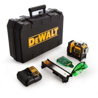 Dewalt DCE089D1G Self Levelling Multi Line Laser 10.8 Volt 1 x 2.0Ah Li-Ion Dewalt DE0714G-XJ GLASSES, DEWALT DE0730G TARGET CARD.