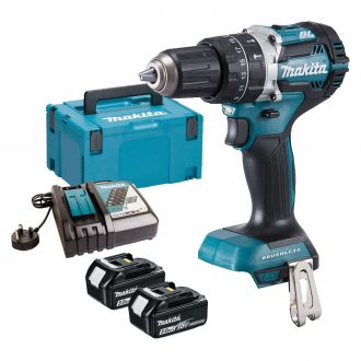 dhp484rtj makita drill 2 x batts case charger combi drill