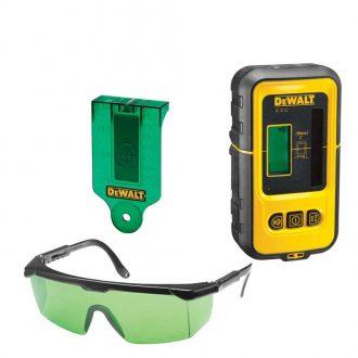 DeWalt Green DE0714G Protective Glasses, DE0730G Target Card And DE0892G Detector