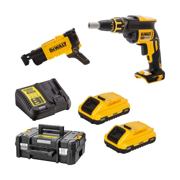 dewalt dcf620m2k-gb brushless collated drywall screwgun with 2x4ah batts case and charger